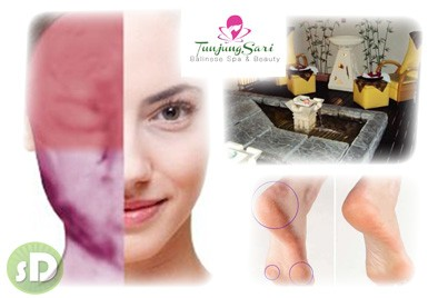 [All-in-one Pampering @ 48%] B$50 instead of B$97 for Tranquillity Massage + Mani & Pedi (include Callus Peel Treatment & Buff Shine) + Natural Advance Facial (Totok Wajah) & Rubber mask + Hair Wash & Blow Dry at Tunjung Sari Balinese Spa, Serusop.
