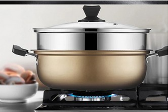 [SOKANO Gold Multipurpose Pan @ 51% Savings!] B$33 instead of B$67 for a unit of Gold Multipurpose Stainless Steel Steamer + Steamboat Pot + Grill Pan. Redemption at SD HQ, Gadong.