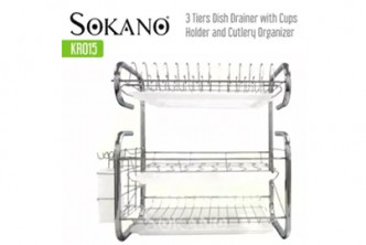 [SOKANO 3 Layer Dishes Drainer @ 28% Savings!] B$29 instead of B$56 for a unit of 3 Layer Stainless Steels Drain Dishes Kitchen Rack. Redemption at SD HQ, Gadong.