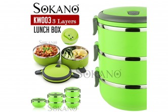[SOKANO Lunch Box @ 55% Savings!] B$9.90 instead of B$22 for a unit of Stainless Steel Lunch Box. Redemption at SD HQ, Gadong.