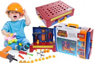 [Engineer Workbench  @ 64% Savings!] B$32 instead of B$89 for a unit of Tool Chest Engineer Work Bench Power Drill Pretend Play Repair Tool Kit 45PCS/Set . Redemption at SD HQ, Anggerek Desa