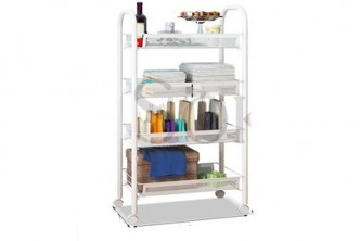 [SOKANO Large Kitchen Trolley @ 42% Savings!] B$39 instead of B$67 for a unit of SOKANO Multiple Tier Large Capacity Carbon Steel Trolley Organizer with Wheels - White. Redemption at SD HQ, Gadong.