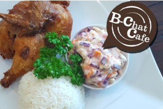 [B-chat Cafe's Lunch Special @ 33% Savings!] B$11.90 instead of B$17.80 for 2 Dishes of Fried Chicken Festival with 2 side dishes, and 2 cans of soda at B-Chat Cafe, Kianggeh