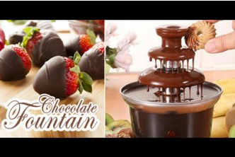 [Chocolate Fountain @ 53% Savings!] B$28 instead of B$59 for a unit of 3-tier Chocolate Fondue Fountain. (Made from heat-resistant ABS and stainless steel bowl) Redemption at SD HQ, Anggerek Desa