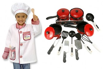 [Toys cookware @ 65% Savings!] B$9 instead of B$26 for a unit ofChild Play House Pretend Play Toy Kitchen Utensils Cooking Pots Pans Food Dishes Cookware Set Of 13. Redemption at SD HQ, Anggerek Desa