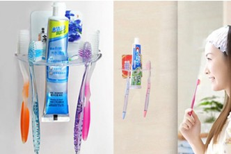 [2 Toothbrush Holder @ 63% Savings!] B$9.9 instead of B$27 for a unit of Transparent Creative Acrylic Toothbrush Holder with Strong Sucker. Redemption at SD HQ, Anggerek Desa