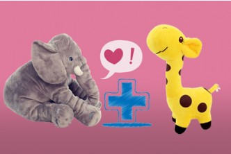 [Elephant & Giraffe Stuffed Toy @ 68% Savings!] B$33.9 instead of B$79 for a unit of SOKANO Elephant and Giraffe Stuffed Toy. Redemption at SD HQ, Gadong.