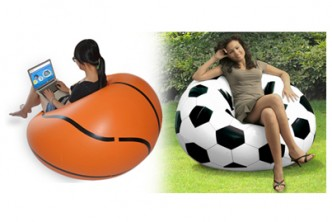 [Basketball Sofa @ 62% Savings!] B$29.90 instead of B$78 for a unit of Basketball Designed Single Seater Air Sofa with Manual Foot Pump. Redemption at SD HQ, Anggerek Desa
