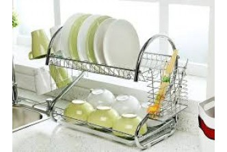 [2 Layer Dish Rack @ 49% Savings!] B$25 instead of B$49 for a unit of 2-Layer Chrome-Plated Steel Dish Rack. Redemption at SD HQ, Anggerek Desa