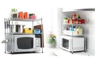 [Microwave Multipurpose Rack @ 64% Savings!] B$25 instead of B$69 for a unit of Height Adjustable Stainless Carbon Steel 2-Tier Microwave Multipurpose Rack. Redemption at SD HQ, Gadong.