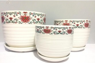 [Ceramic Flower Planter Pots @ 59% Savings!] B$28 instead of B$68 for a set of Simple Patterns or B$32 instead of B$88 for a set of Flower Designed Ceramic Planter Pots with Saucers, Set of 3 Pots in Various Sizes. Redemption at SD HQ, Gadong.