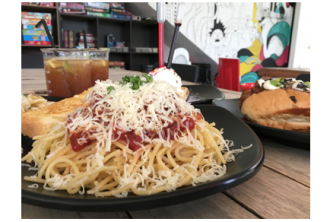[Ner-Dee-lizioso @ 64% Savings!] $12 instead of $33 for Meatball Spaghetti w Garlic Bread + Sausage Bun with Chilli Beef and fries +  Cheesy Fries + Waffle w Vanilla Ice Cream + Two Ol-Skool Ice Lemon Tea at NER|DEE Cafe, Kiulap.