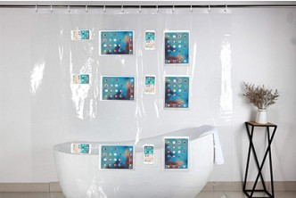 From U.S.[12 Pocket Waterproof Shower Curtain @ 29% Savings!] B$49 instead of B$69 for a unit of 12 Pocket Waterproof Shower Curtain Liner For Phone/Tablets. Redemption at SD HQ, Gadong.