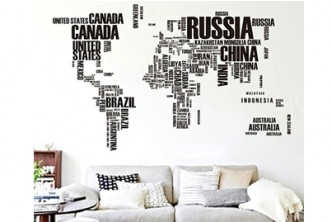 [World Map Wall Sticker @ 78% Savings!] B$12 instead of B$55 for a unit of World Map Removable Decal Wall Stickers (Black). Redemption at SD HQ, Anggerek Desa