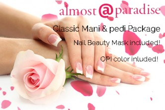 [Almost @ Paradise Pamper Package @ 69% Savings!] B$23.90 instead of B$76 for Classic Manicure + Classic Pedicure + Nail Beauty Mask Treatment ( hand & feet) + OPI Color at Almost Paradise, Manggis Mall (Also redeemable at Tungku Link)