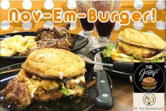 The Jazzy's x M.Yus - ' Nov-em-burger' Special Promo @ [55% Savings!] B$10 instead of B$22 for Pablo Montana  + De'Shrooms Chicken + BBQ Chicken Wings with Sesame Seeds + French Fries with Honey + 2 Drinks at M.Yus Restaurant, Kiulap.