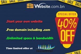 Website.com.bn - Web-Hosting for Ecommerce 1-Year Plan @ [40% Savings!] B$60 instead of B$100 for Unlimited Disk Space + Unlimited Bandwidth + Free Domain Name + Unlimited Emails + Unlimited MySQL + Unlimited Subdomains.