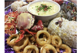 [M.Yus -' For-the-Love of Seafood!' Promo @ 50% Savings!] B$40 instead of B$80 for Seafood Platter + 4 Fried Rice + Sweet Corn Soup + 1 Bottomless Jug of Iced Lemon at M.Yus Restaurant, Kiulap.
