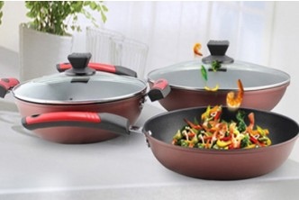 [3IN1 Non Stick Cookware Set  @ 50% Savings!] B$55 instead of B$109 for a set SOKANO Premium Set of 3 Non Stick Cookware . Redemption at SD HQ, Gadong.
