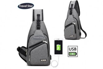 [Grey Travel Star Bag w Charging Port  @ 59% Savings!] B$23.9 instead of B$59 for a unit of Travel Star Shoulder Bag w External Charging Port at SD HQ, Gadong.