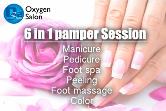 [6IN1 Hand & Feet Pamper session @ 56% Savings!] B$16.90 instead of B$38 for Mani-Pedi + Foot Spa + Peeling + Foot Massage + Color +  at Oxygen Salon, Delima Square.