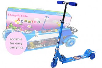 [SOKANO Kid Blue Scooter with LED Wheels  @ 57% Savings!] B$29.90 instead of B$69 for a unit of SOKANO Height Adjustable Foldable Kid Scooter with LED Light up Wheels . Redemption at SD HQ, Anggerek Desa