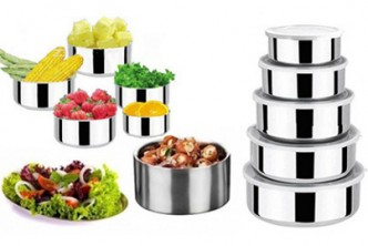 [5-in-1 Deal Container @ 71% Savings!]  B$9.90 instead of B$33.90 for a set of 5 Multi-Sized Stainless Steel Food Containers. Redemption at SD HQ, Gadong