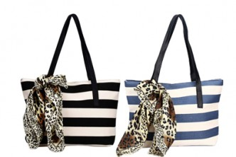 [Striped Canvas Handbag with Scarfs @ 71% Savings!] B$12.9 instead of B$45 for a unit of Striped Canvas Handbag with Scarfs. Choose from black or blue. Redemption at SD HQ,Gadong