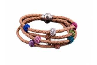 [Shamballa Bracelet @ 88% Savings!] B$13 instead of B$105 for a unit of Brown Loeather Shamballa Bracelet Made With Swarovski Elements. (Choose from white, pink or brown) Redemption at SD HQ, Anggerek Desa
