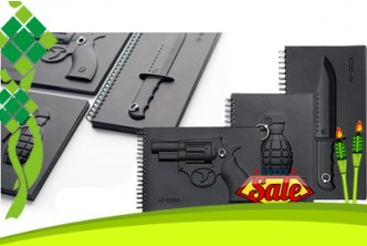 Raya Deal* [Notebook @ 87% Savings!] B$5 instead of B$38 for a unit of Creative Armed Notebook. (choose from Grenade/Knife/Revolver) Redemption at SD HQ, Anggerek Desa