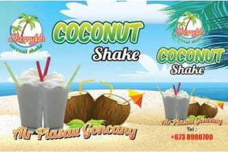 [Coconut Shake @ 40% Savings] B$6 instead of B$10 for 4x cups of Original Coconut Shake at Sherryfah, The SOUQ Airport Mall.