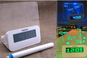 [Neon Alarm Clock w Message Board @ 59% Savings!] B$19.9 instead of B$48 for a unit of a Neon Message Board Alarm Clock w/ Four USB Ports Redemption at SD HQ, Anggerek Desa